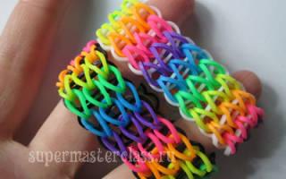 Как плести браслеты из резиночек на станке пошагово