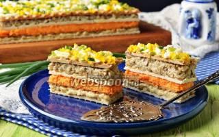 Селедочный торт на вафельных коржах: рецепты